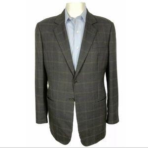 Giorgio Armani Black Label Brown Check Silk Wool